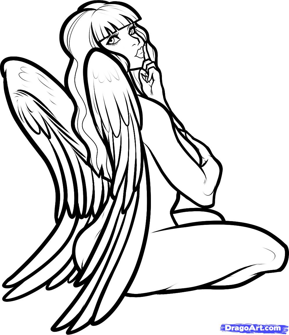 994x1150 Bad Angel Girl Drawings How To Draw An Angel Girl, Angel Girl
