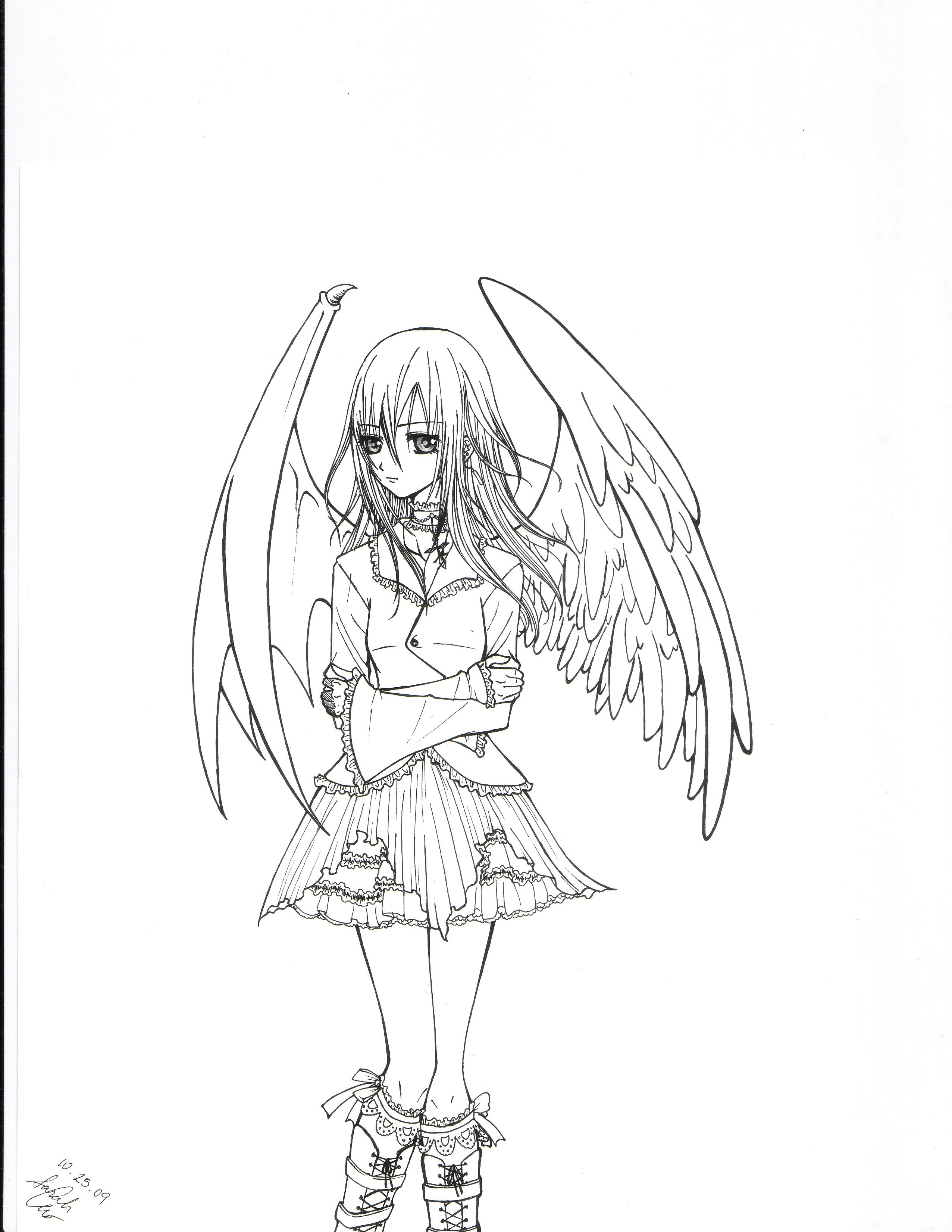 2552x3300 Angel Devil Hybrid Girl By Strawberrycat31