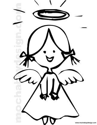 325x420 Printable Christmas Angel Smiling Coloring Page