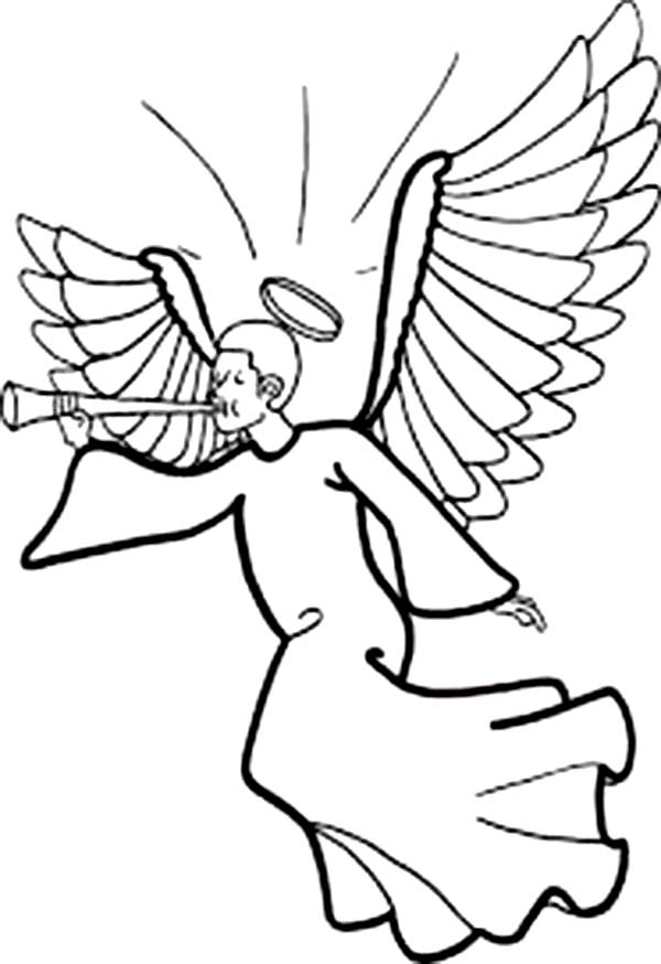 600x874 Winged Angels With Halo Blowing Trumpet Coloring Page Color Luna
