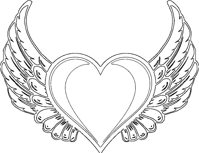 free heart with wing coloring pages | Angel Heart Drawing at GetDrawings.com | Free for personal ...