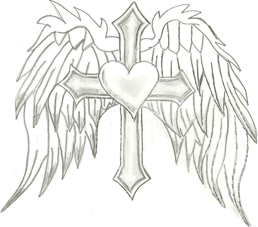 900x794 Cross,heart, Angel Wings By 86janetj