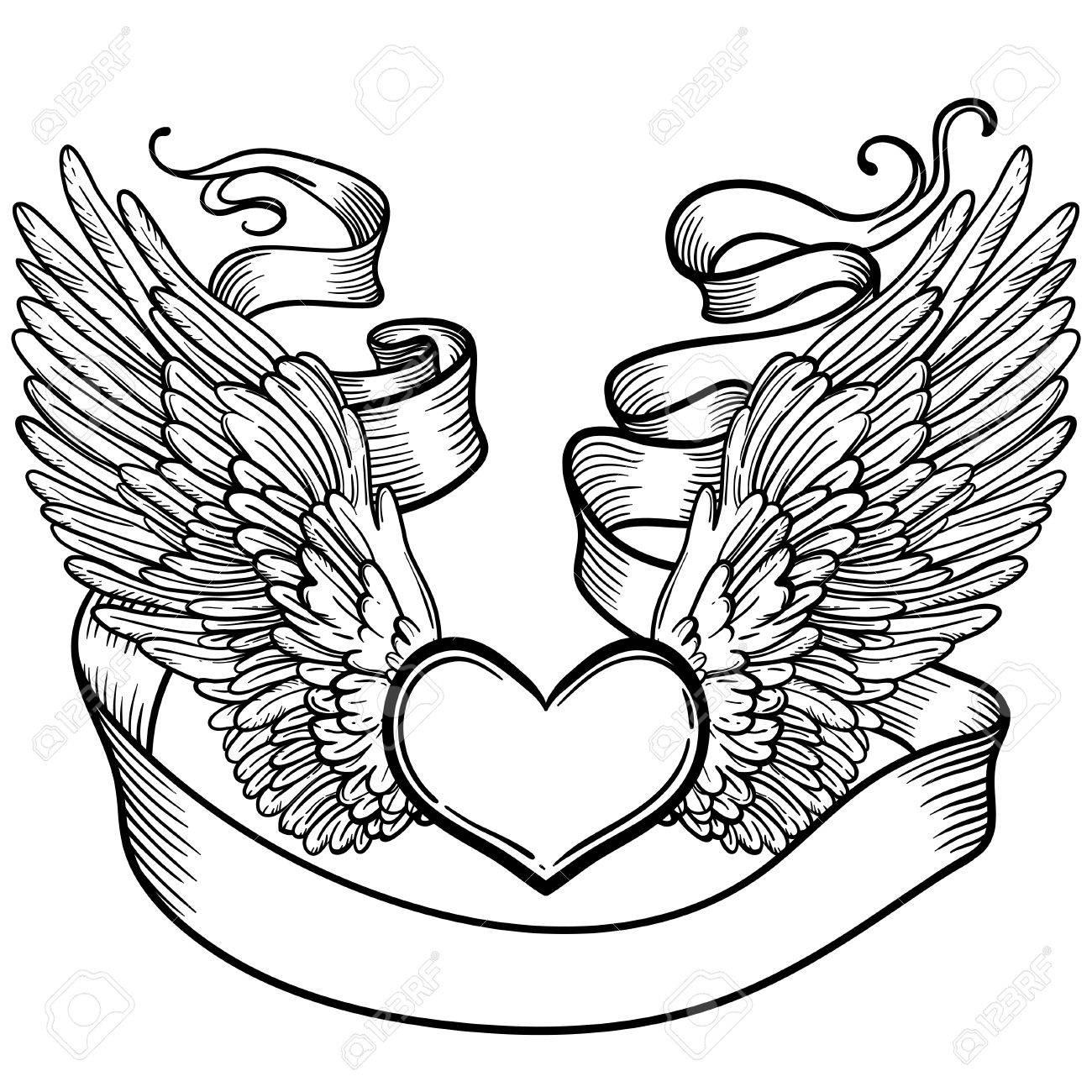 1300x1300 Line Art Illustration Of Angel Wings, Heart, Tape. Vintage Print