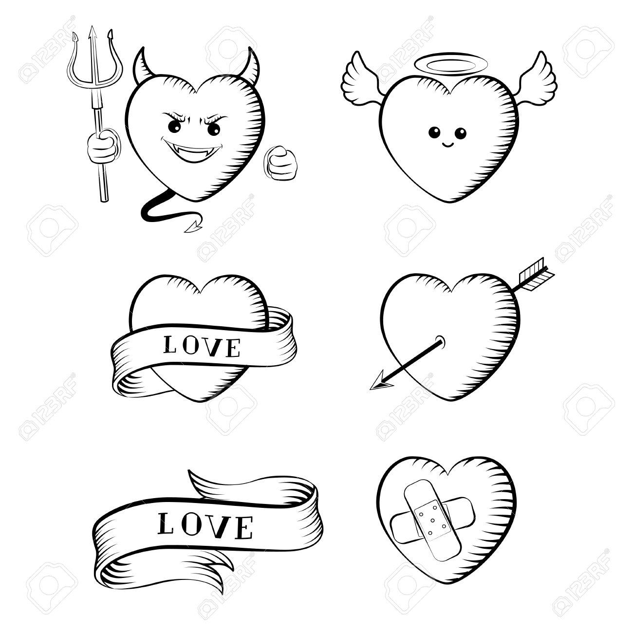 1300x1300 Tattoo Set. Isolated Tattoo Hearts Devil, Angel, Heart