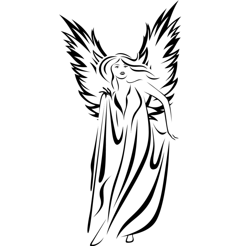 1024x1024 Drawing Of Angels Angel Line Drawing Clipartsco