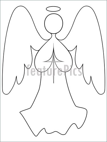 375x500 Illustration Of Angel Line Drawing