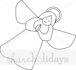 300x277 Praying Angel Line Drawing Clipart Christmas Angel Clipart