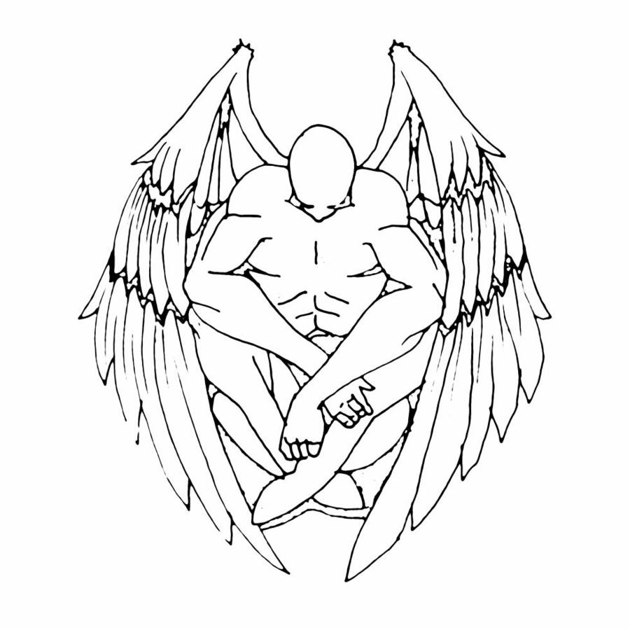 900x900 Angel Outline Tattoo Elaxsir