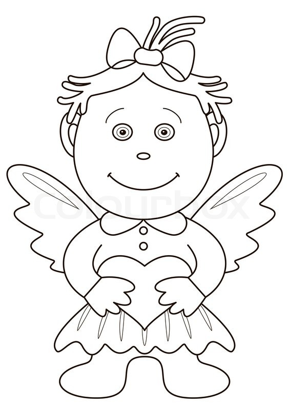 566x800 Girl Angel With Valentine Heart, Outline Stock Photo Colourbox
