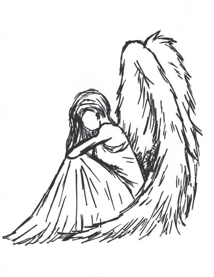 750x970 Drawing Easy Sad Angel Drawings In Conjunction With Easy Sad
