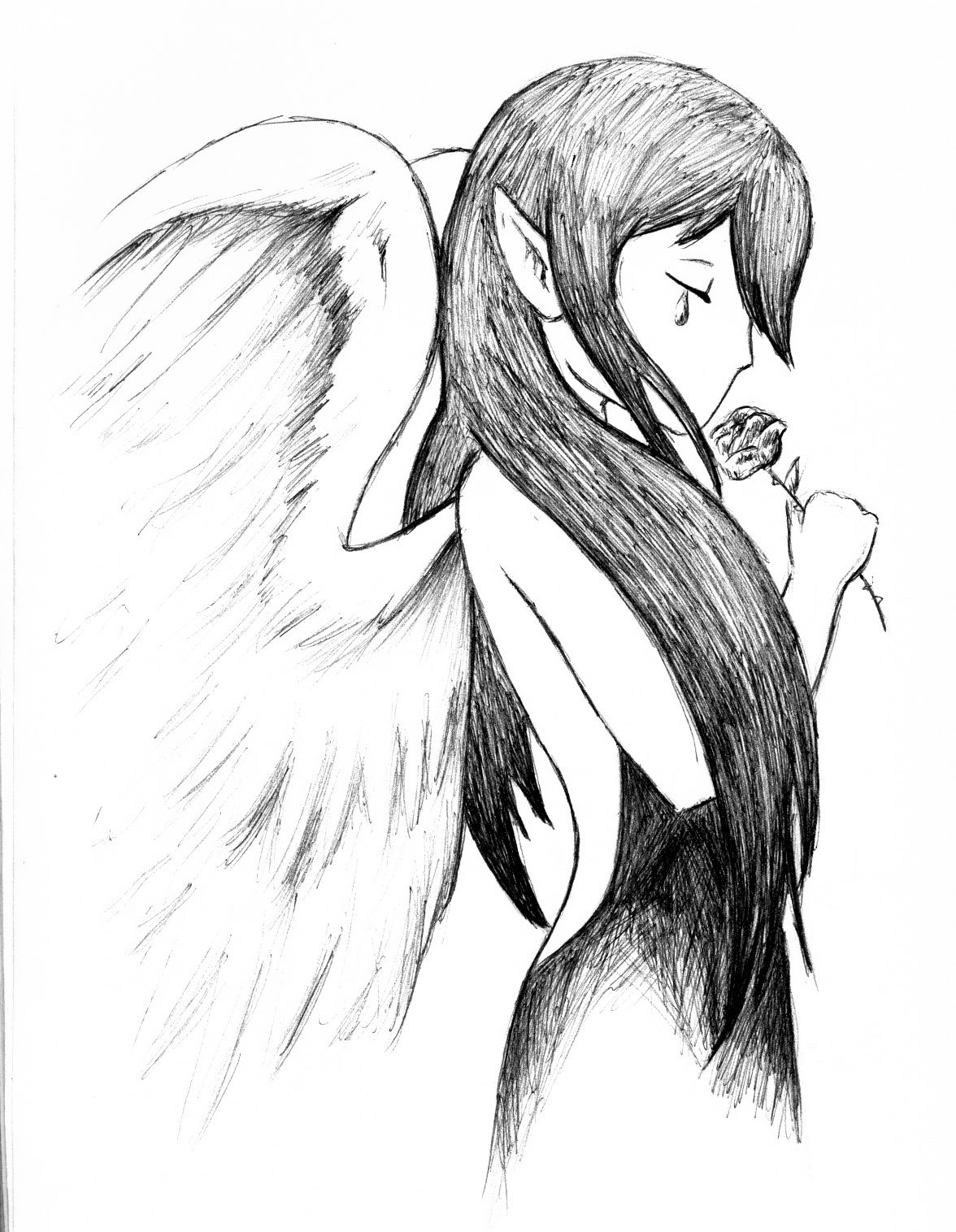 1176x1516 Sad Angel Anime Drawings In Pencil Pencil Drawing Sad Angel Images