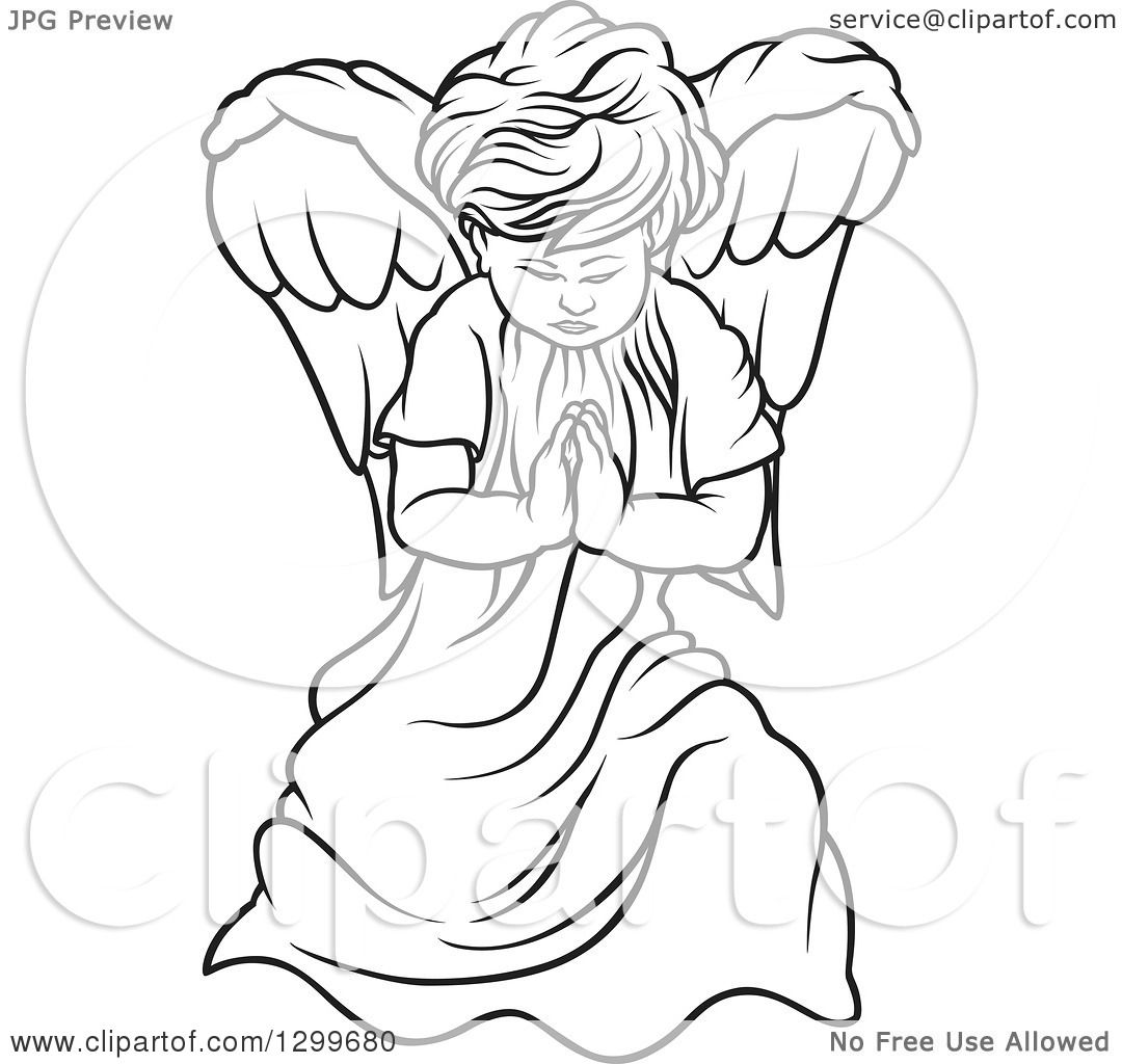 1080x1024 Clipart Of A Black And White Angel Praying