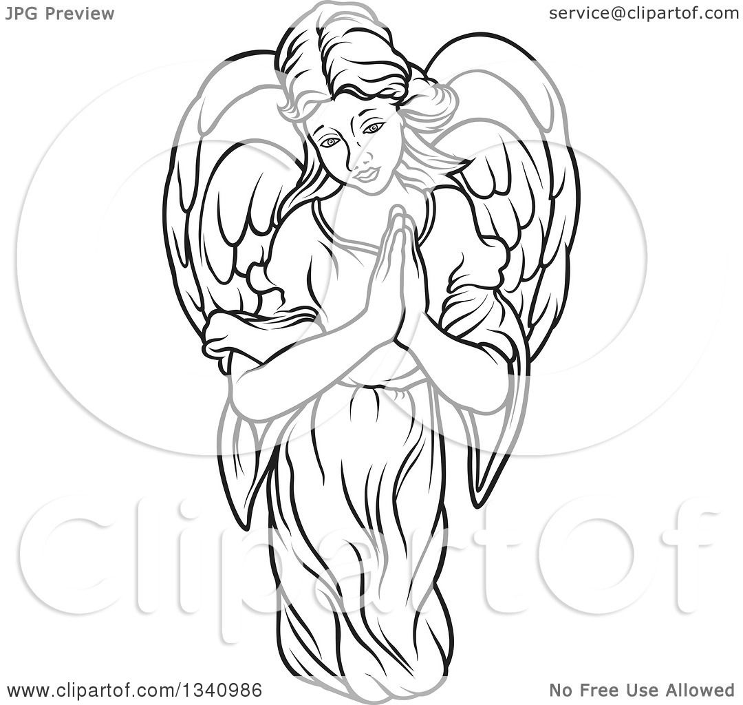 1080x1024 Clipart Of A Black And White Female Angel With Prayer Hands