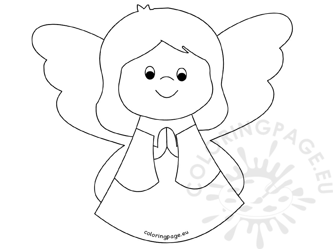 1107x827 Cute Angel Girl Praying Coloring Page
