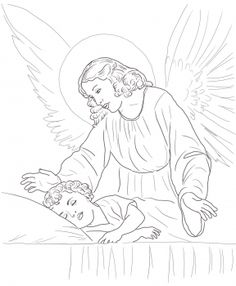 236x286 Guardian Angel Prayers With Little Girl Catholic Coloring Page