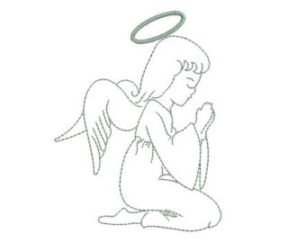 340x270 Praying Angel Silhouette Embroidery Design From Mybabeinthehood