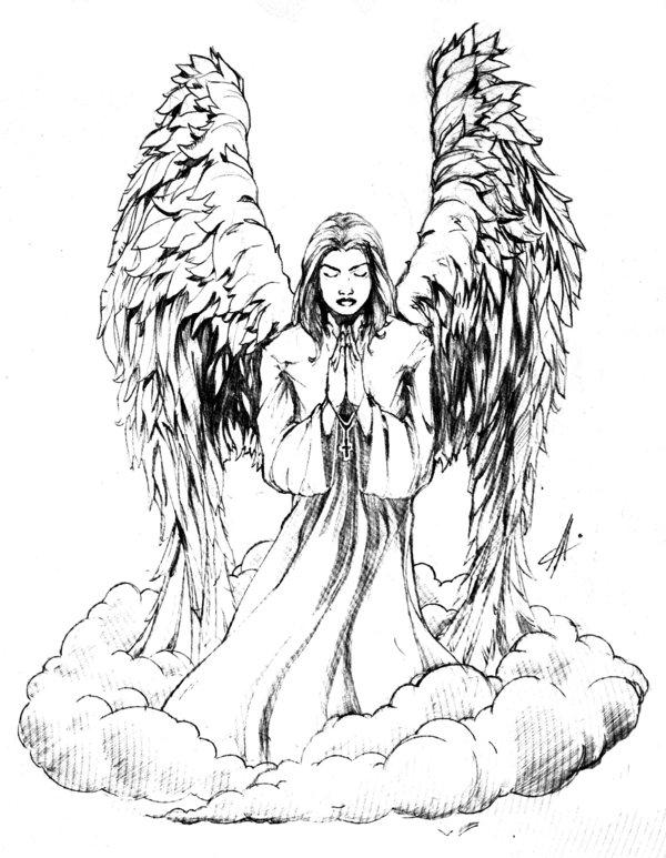 600x773 Praying Angel Tattoo