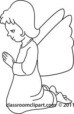 245x375 Religion Clipart Kneeling Angel Praying Bw