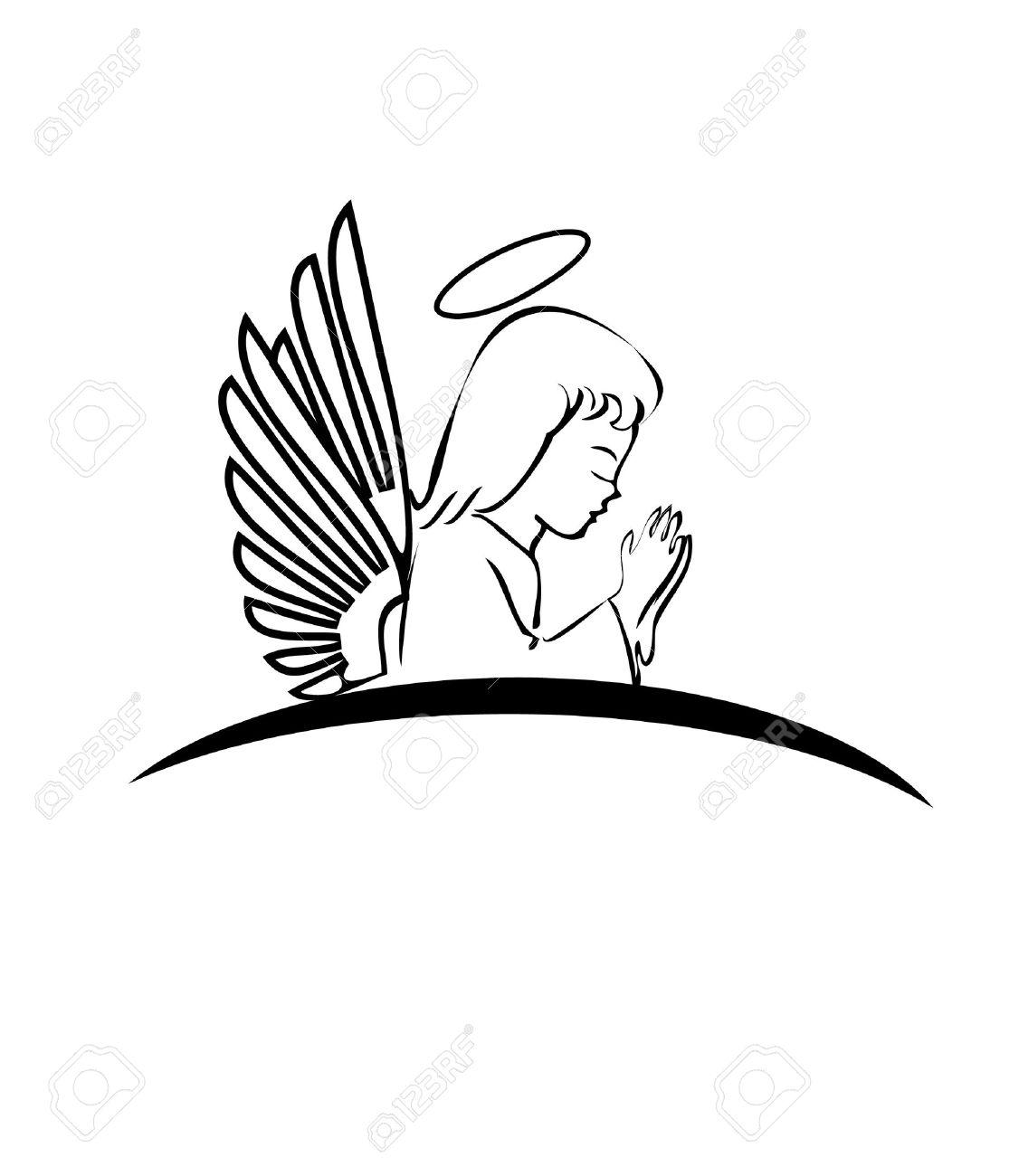 1126x1300 Angel Praying Logo Royalty Free Cliparts, Vectors, And Stock
