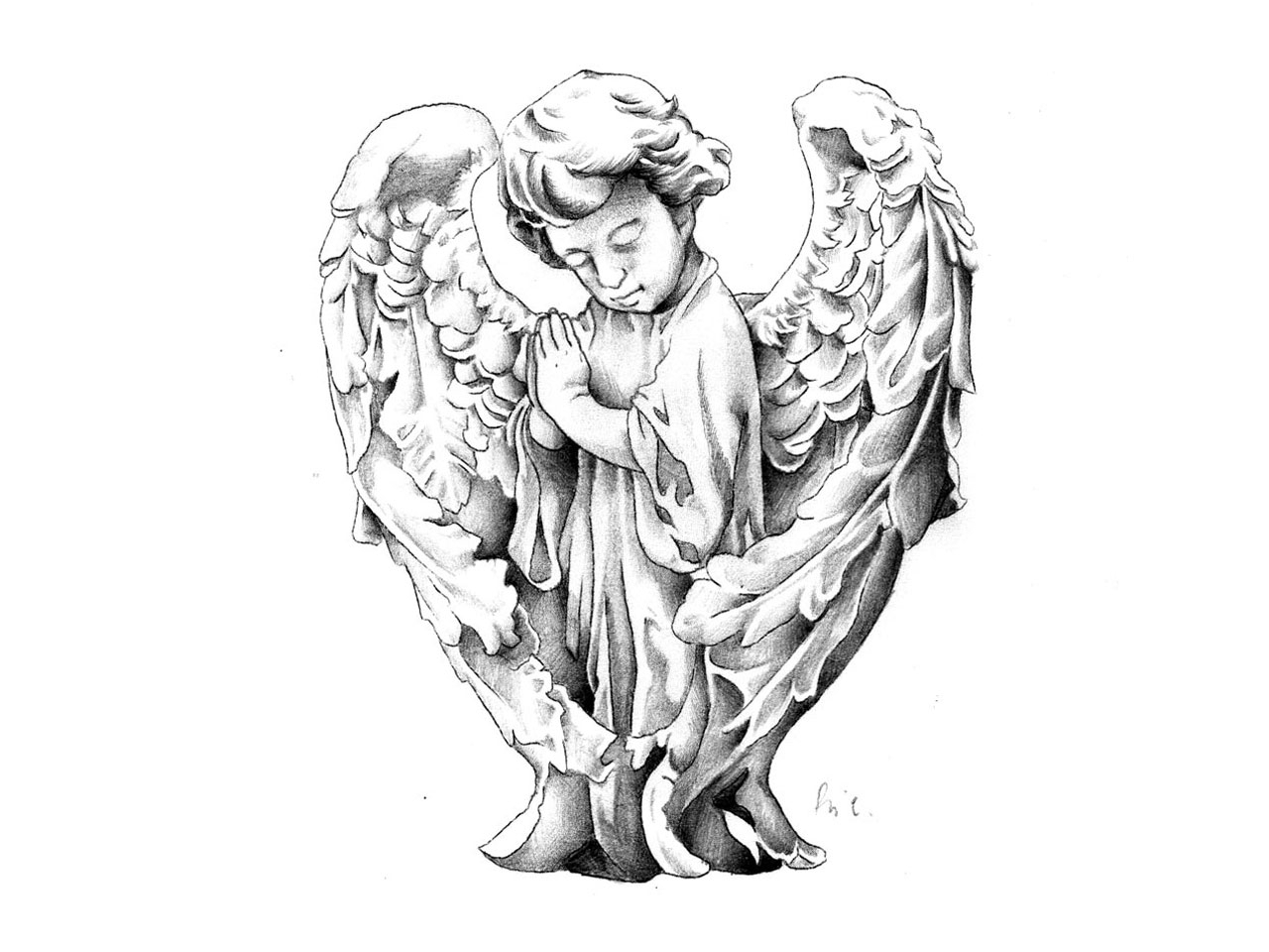 1280x960 Baby Angel Sketches Child Angel Tattoo Photo