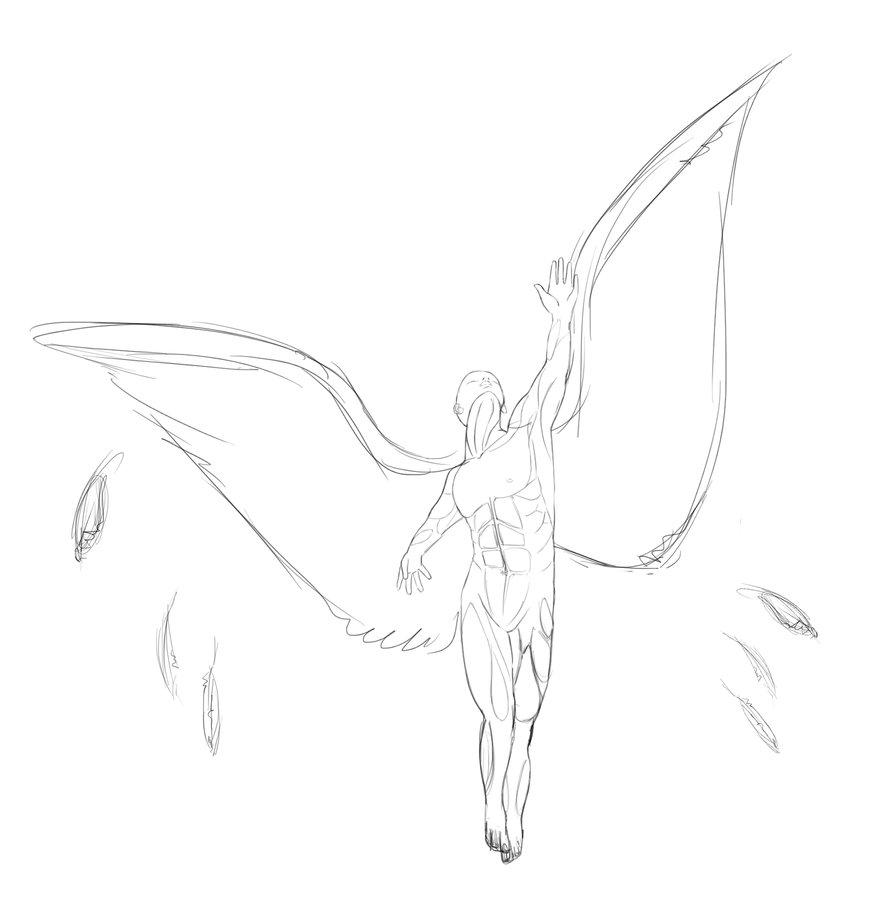 869x920 Adrian's Angel Tattoo Sketch By Denizen V1