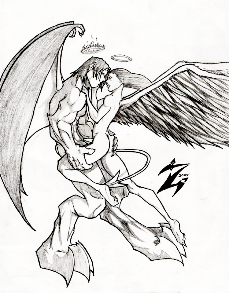Angel Vs Demon Drawing
