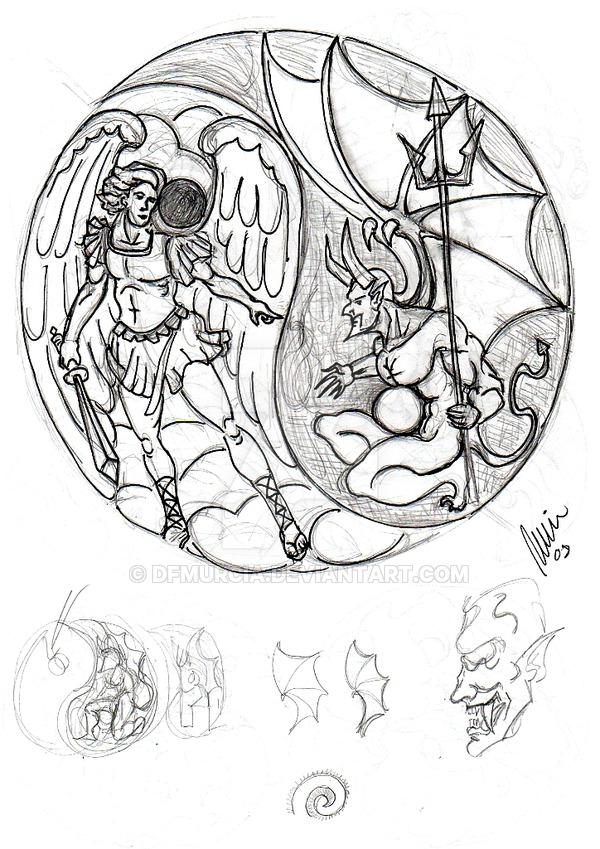 600x849 angel vs demon sketch by dfmurcia on deviantart