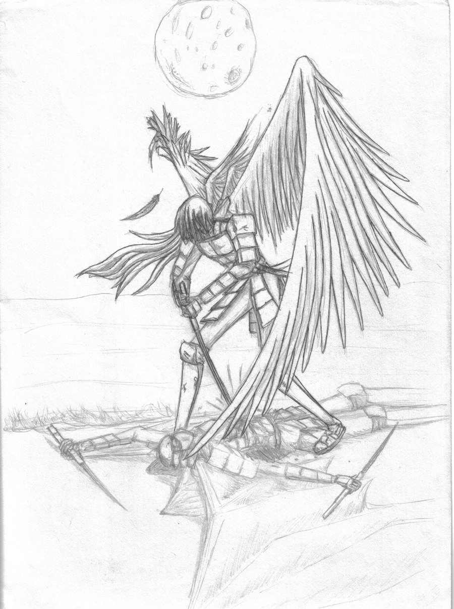 900x1207 Old Drawing Angel Vs. Demon By Caseycrown