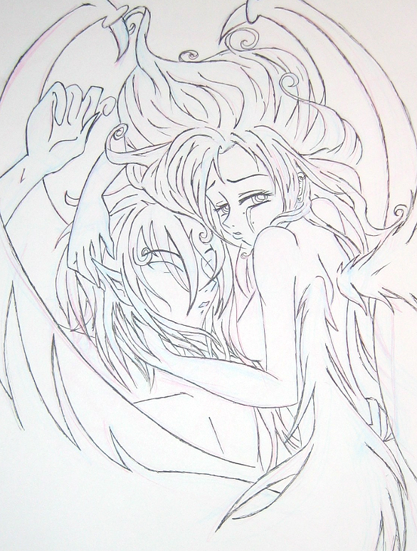 586x773 Sketch Demon And Angel By Angelicpara