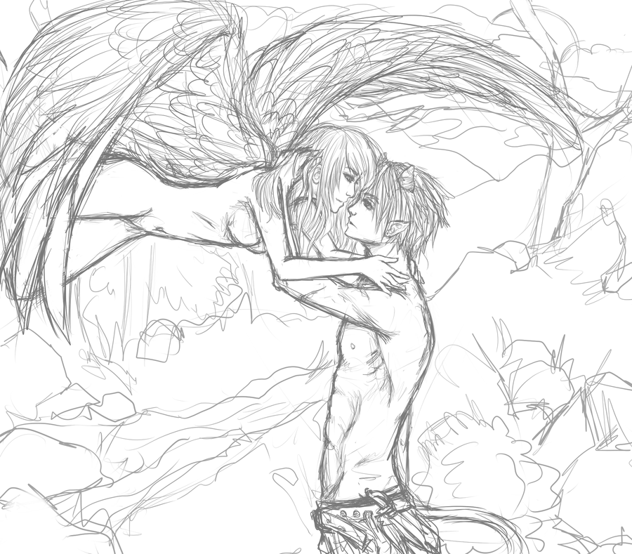 900x789 Angel And Demon Sketch Requestt By Phoenixfeatherz