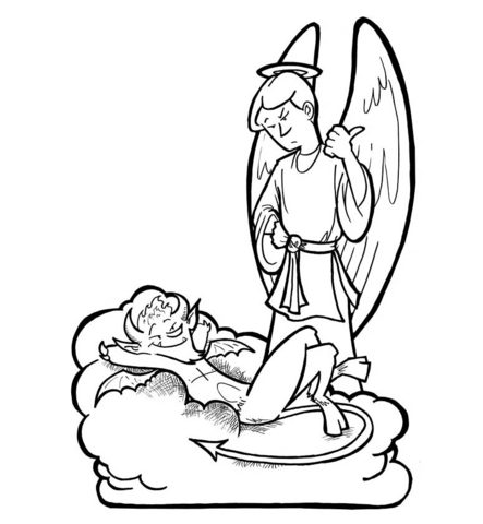 443x480 Angel And Devil Coloring Page Free Printable Coloring Pages