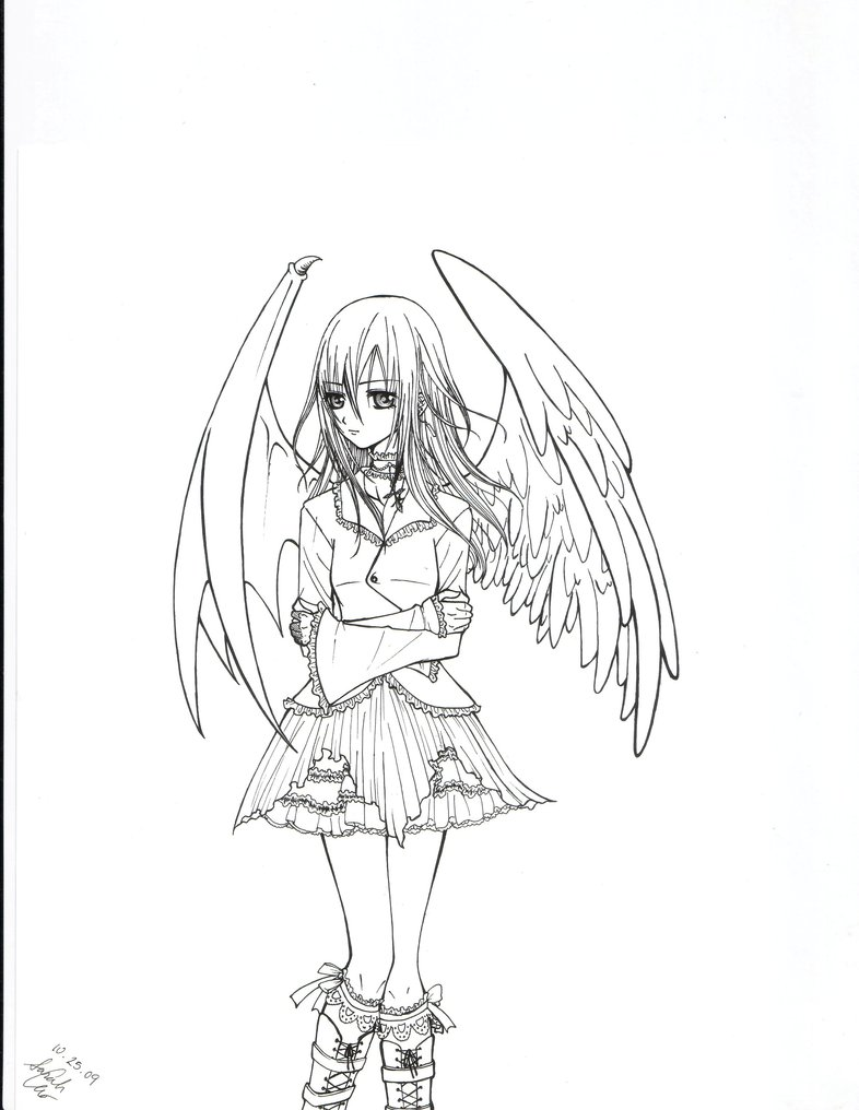 786x1016 Angel Devil Hybrid Girl By Strawberrycat31