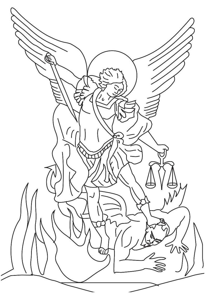 850x1233 St Michael Defeats The Devil Coloring