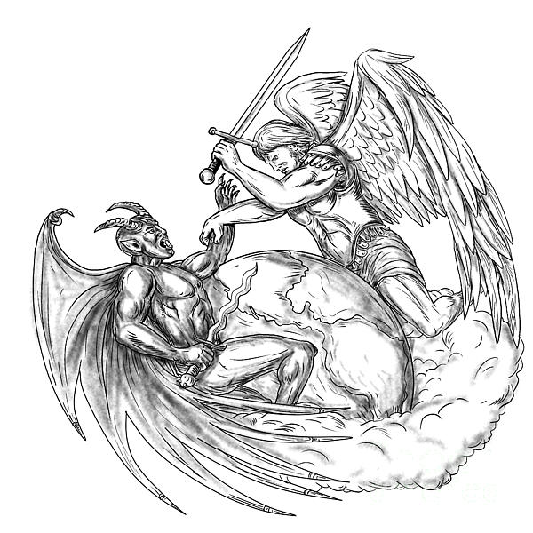 600x600 Angel Fighting Demon Over Earth World Tattoo Digital Art By