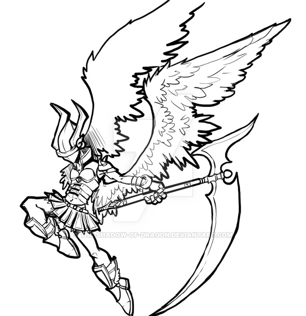 600x618 Angel Warrior Lineart By V By The Shadow Of Dragon