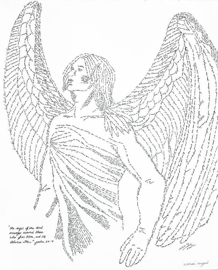 727x900 Mighty Warrior Angel Drawing By Lorraine Foster