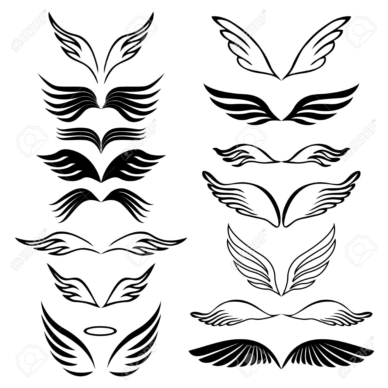 1300x1300 Angel Wings Set Hand Drawn Sketch On White Royalty Free Cliparts