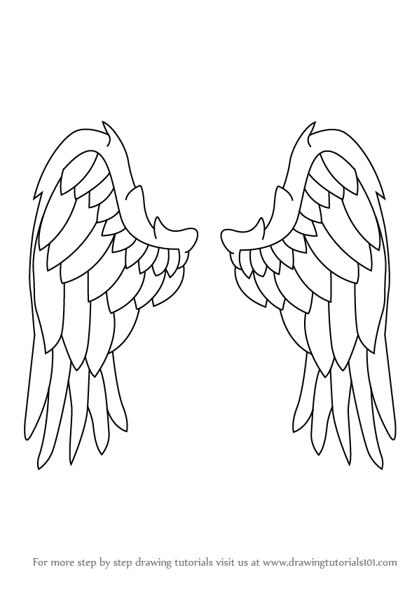 598x844 Learn How To Draw Angel Wings (Angels) Step By Step Drawing