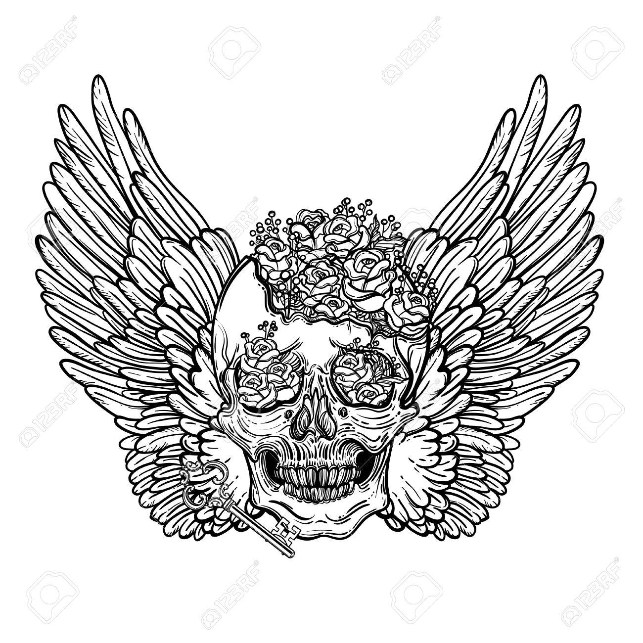 1300x1300 Line Art Illustration Of Angel Wings, Scary Skull And Flowers