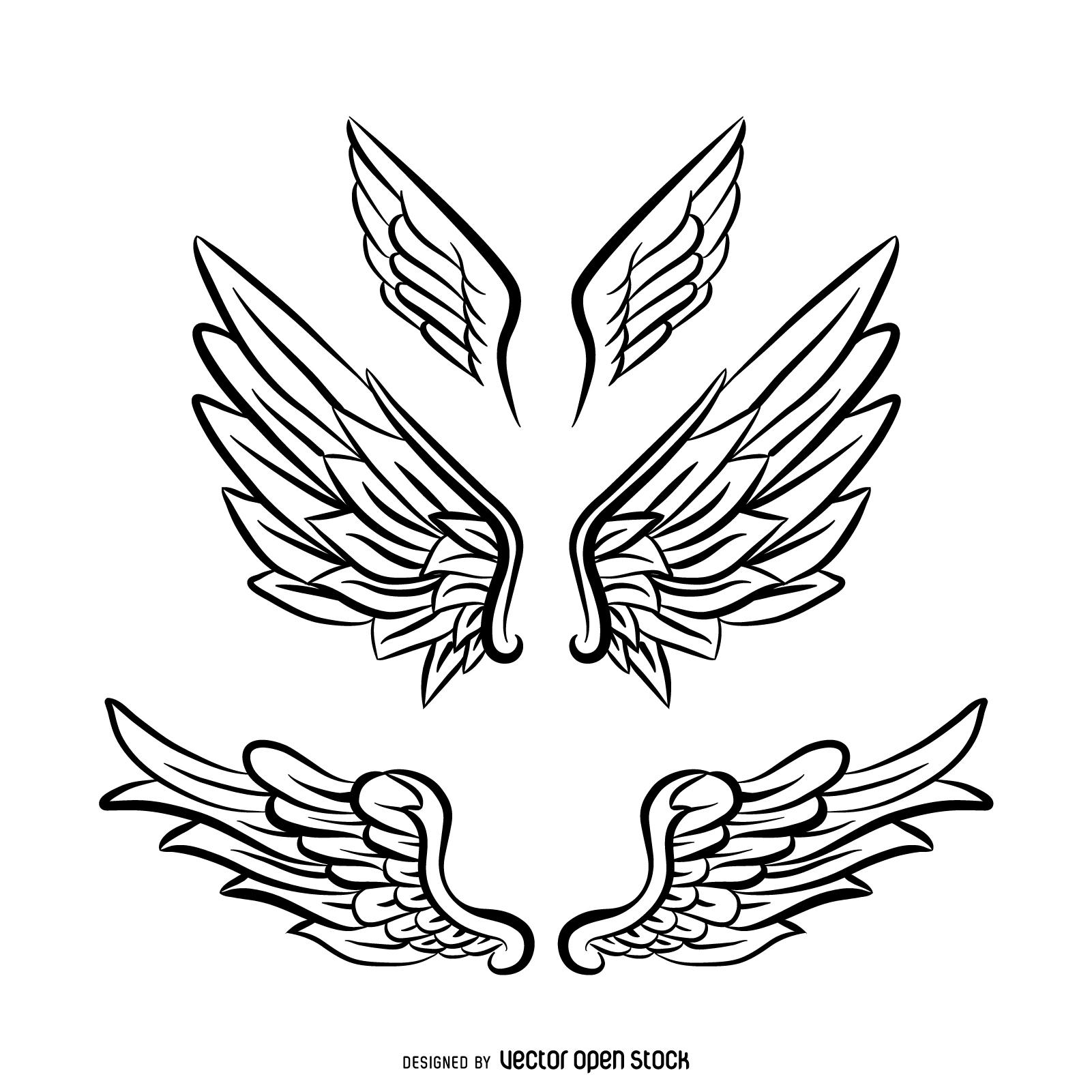 1601x1601 Angel Wings Line Drawing 3 Angel Wings Line Art