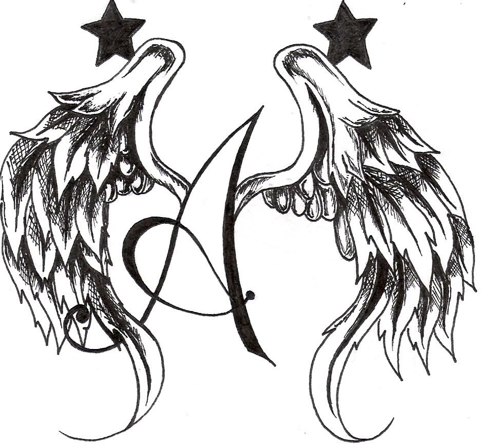 937x867 Angel Wings Drawing