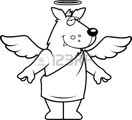 450x411 A Happy Cartoon Wolf With Angel Wings And Halo. Royalty Free