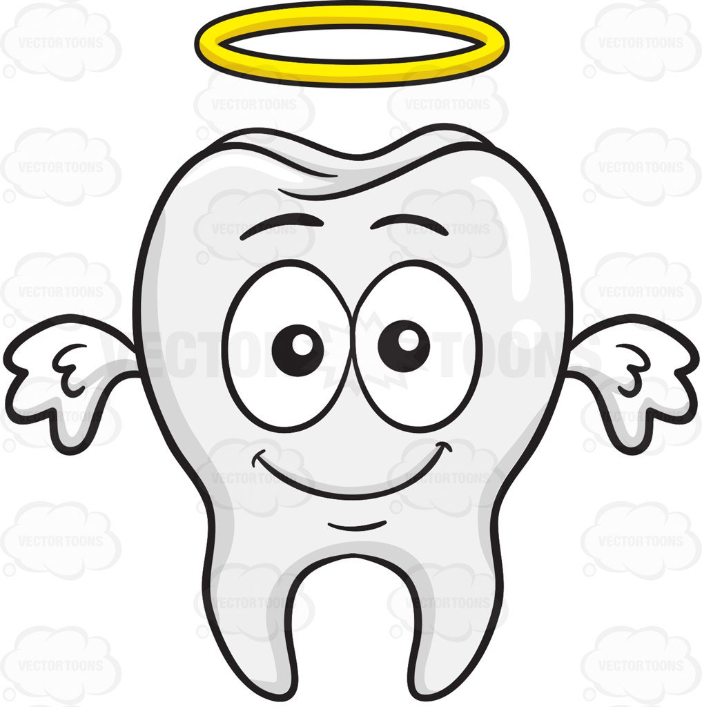1017x1024 Angelic Looking Tooth With Halo And Wings Cartoon Clipart