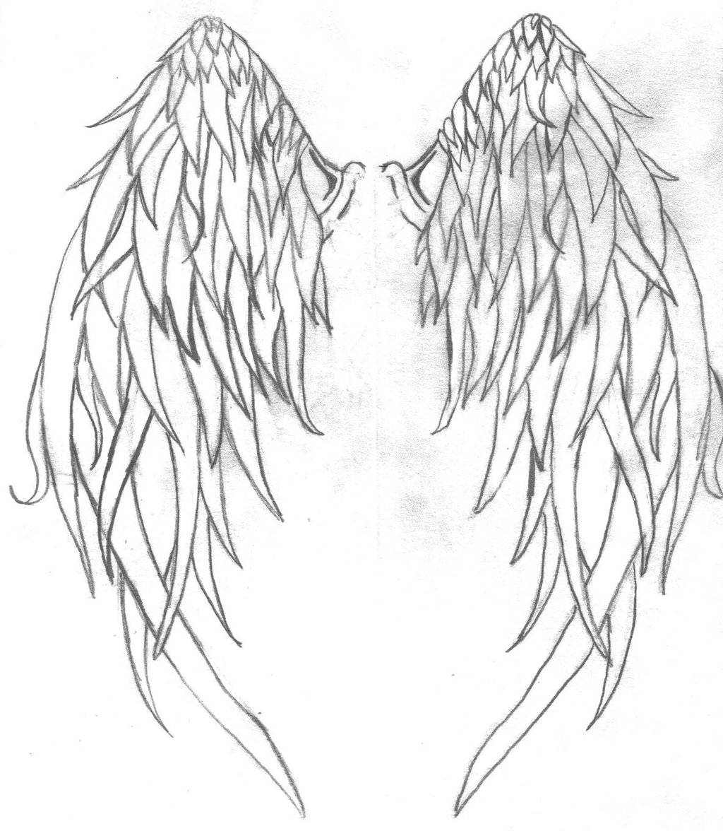 1024x1176 Collection Of Outline Cross With Angel Wings Tattoo