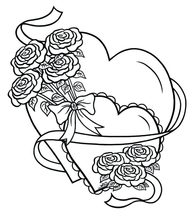 687x758 Hearts With Wings And Halo Coloring Pages Roses For Com Adults