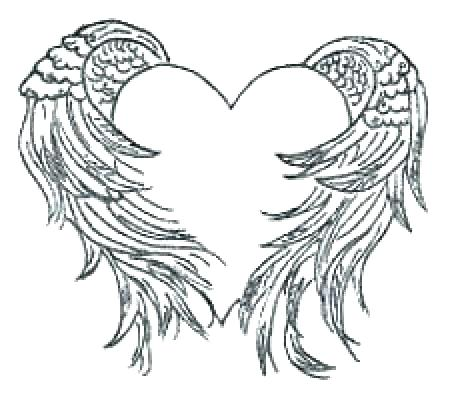 452x400 Hearts With Wings Coloring Pages Angel Wings Coloring Pages Heart