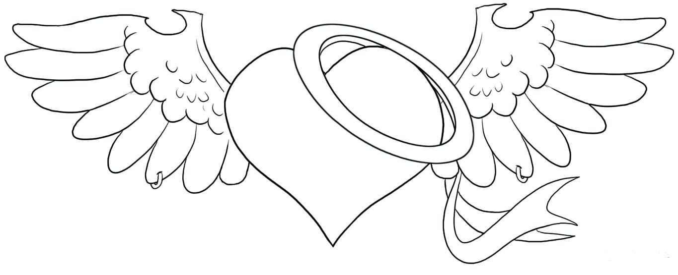 1365x555 Coloring Pages Of Hearts With Wings
