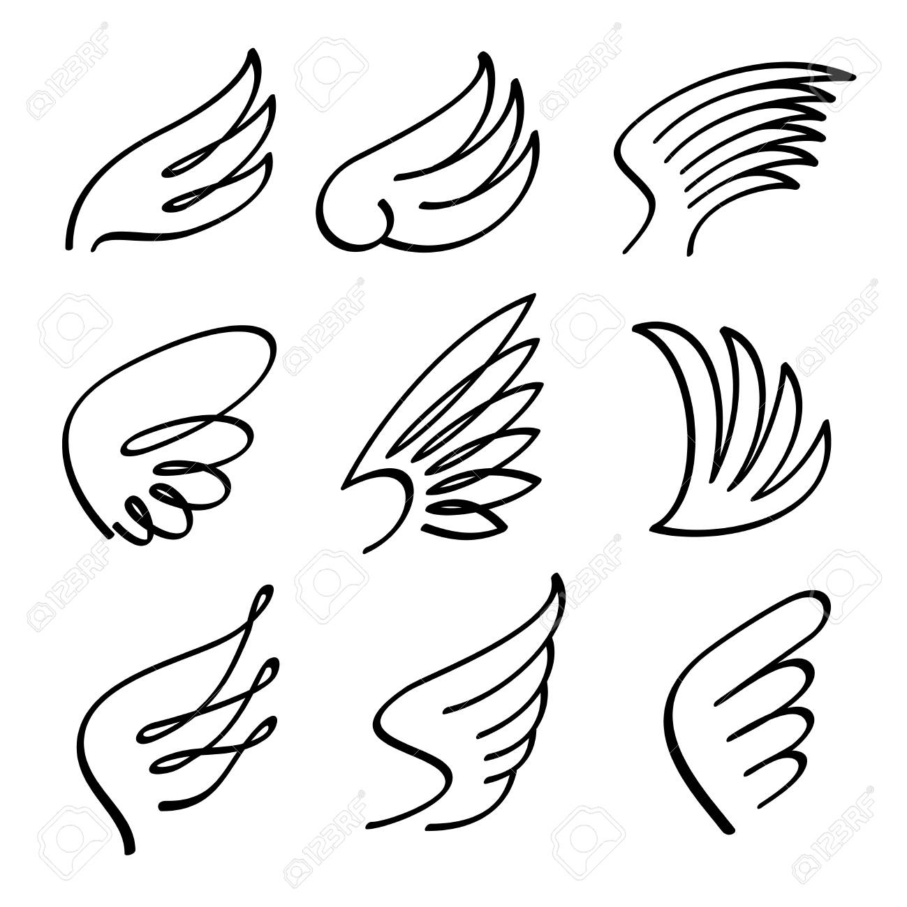 1299x1300 Cartoon Angel Wings Vector Set. Sketch Doodle Winged Abstract
