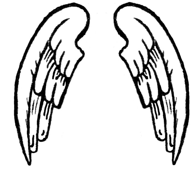 650x563 dark angel clipart outline drawing