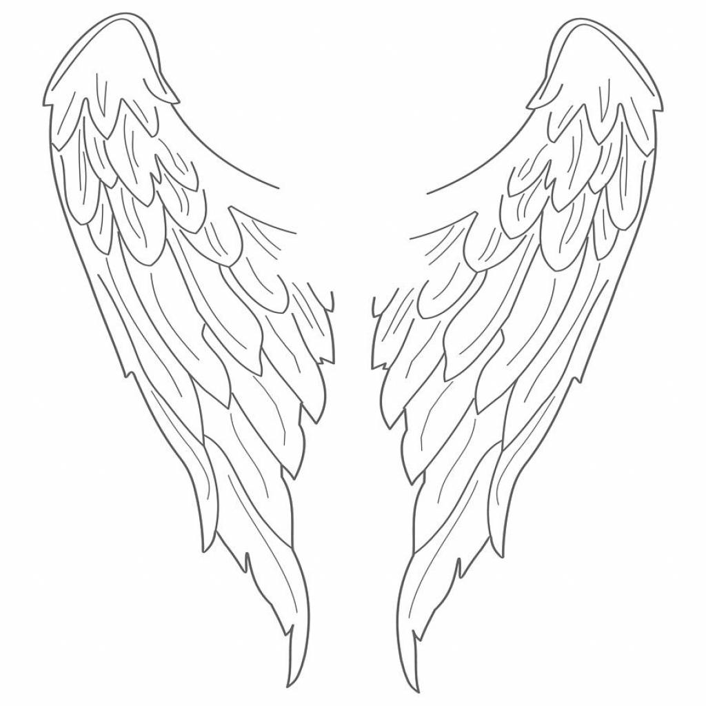 1024x1024 Simple Angel Wings Drawing